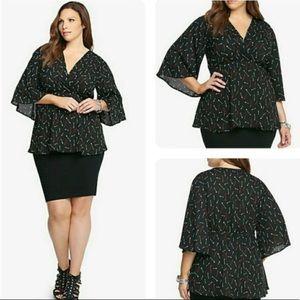 Torrid Arrow Print Kimono Sleeve Babydoll Top